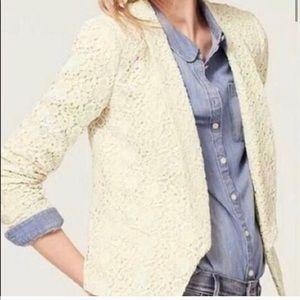 Loft crochet cream blazer sz 0 petite